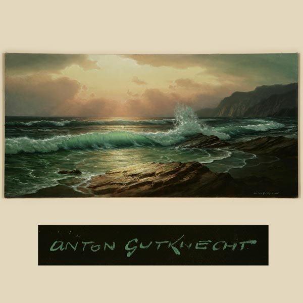1017: ANTON GUTKNECHT, COASTAL SEASCAPE, OIL