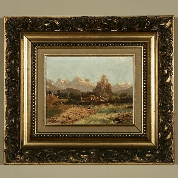 1018: JOHN CALIFANO, ITALIAN MOUNTAIN SCENE, OIL