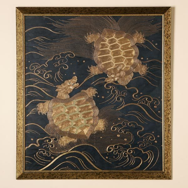 1026: A CHINESE SILK AND GOLDEN METAL THREAD PANEL