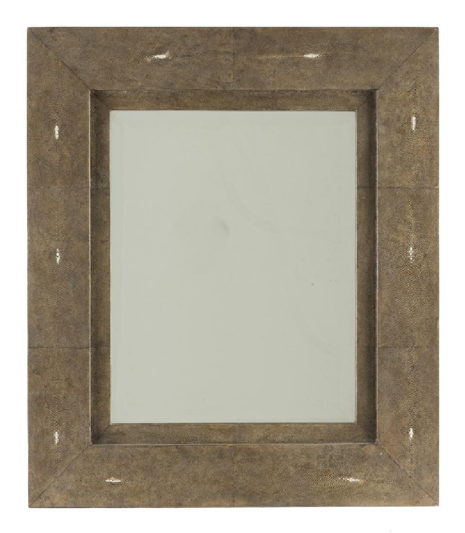 An R & Y Augousti ''Taupe Shagreen'' ray skin mirror