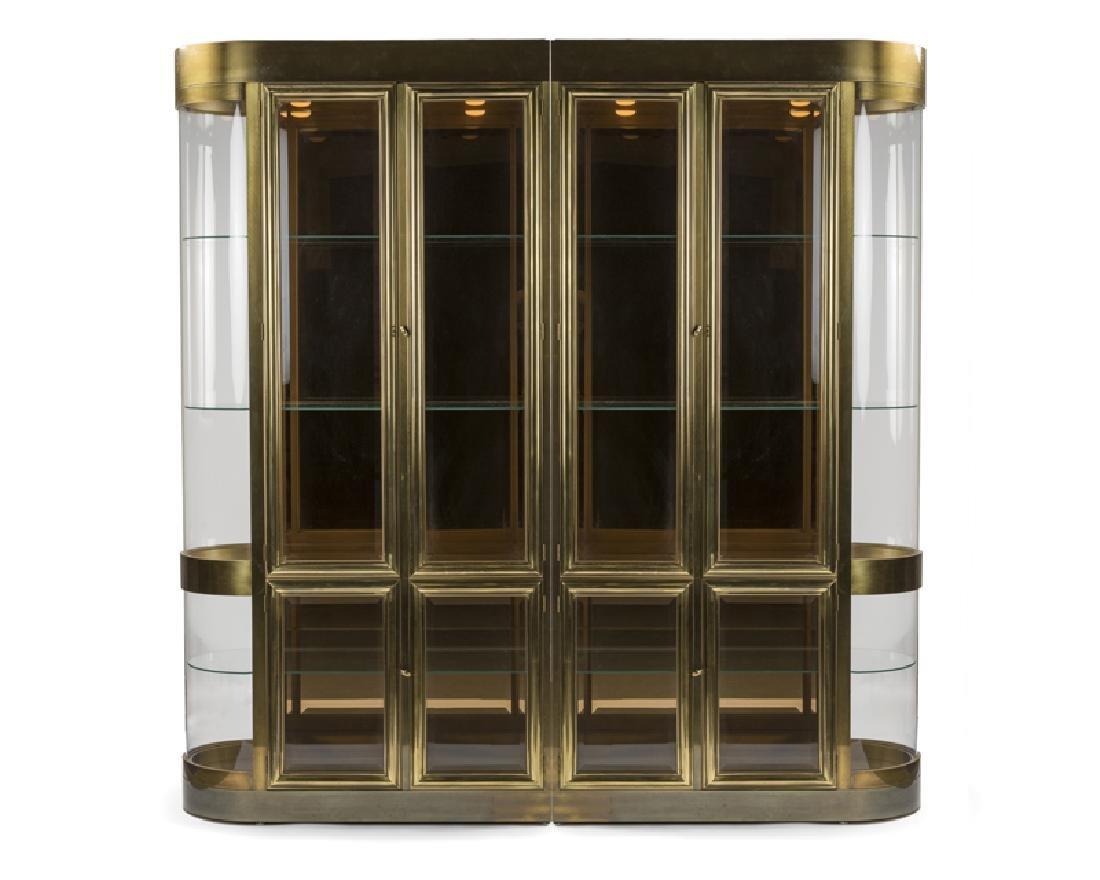 A brass and glass two-part vitrine, Mastercraft