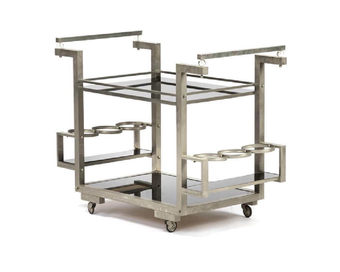 An Art Deco-style bar cart