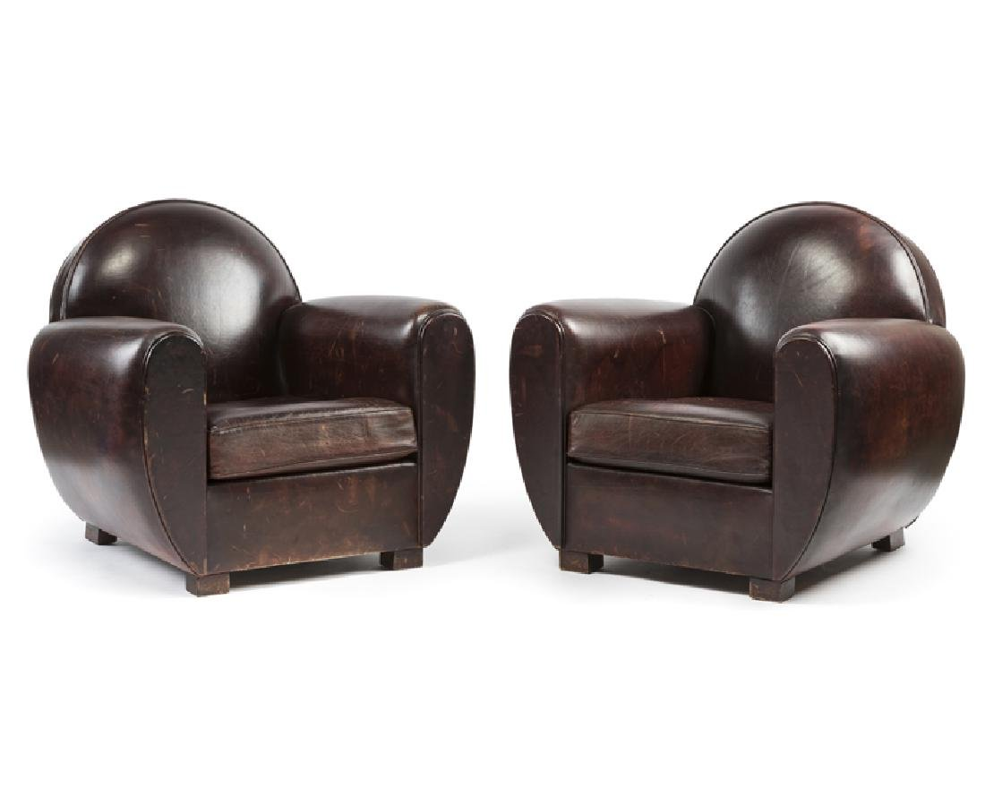 A pair of Art Deco-style leather club chairs
