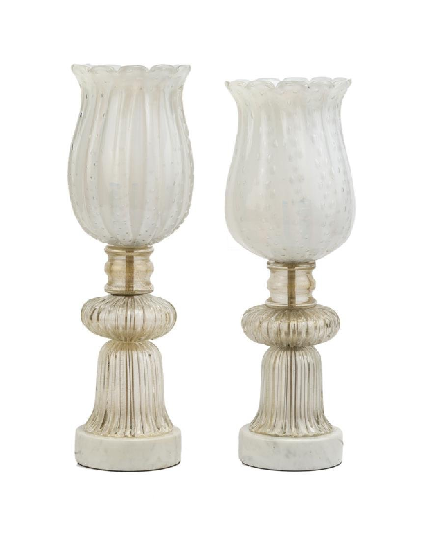 A near pair of Murano glass torchieres
