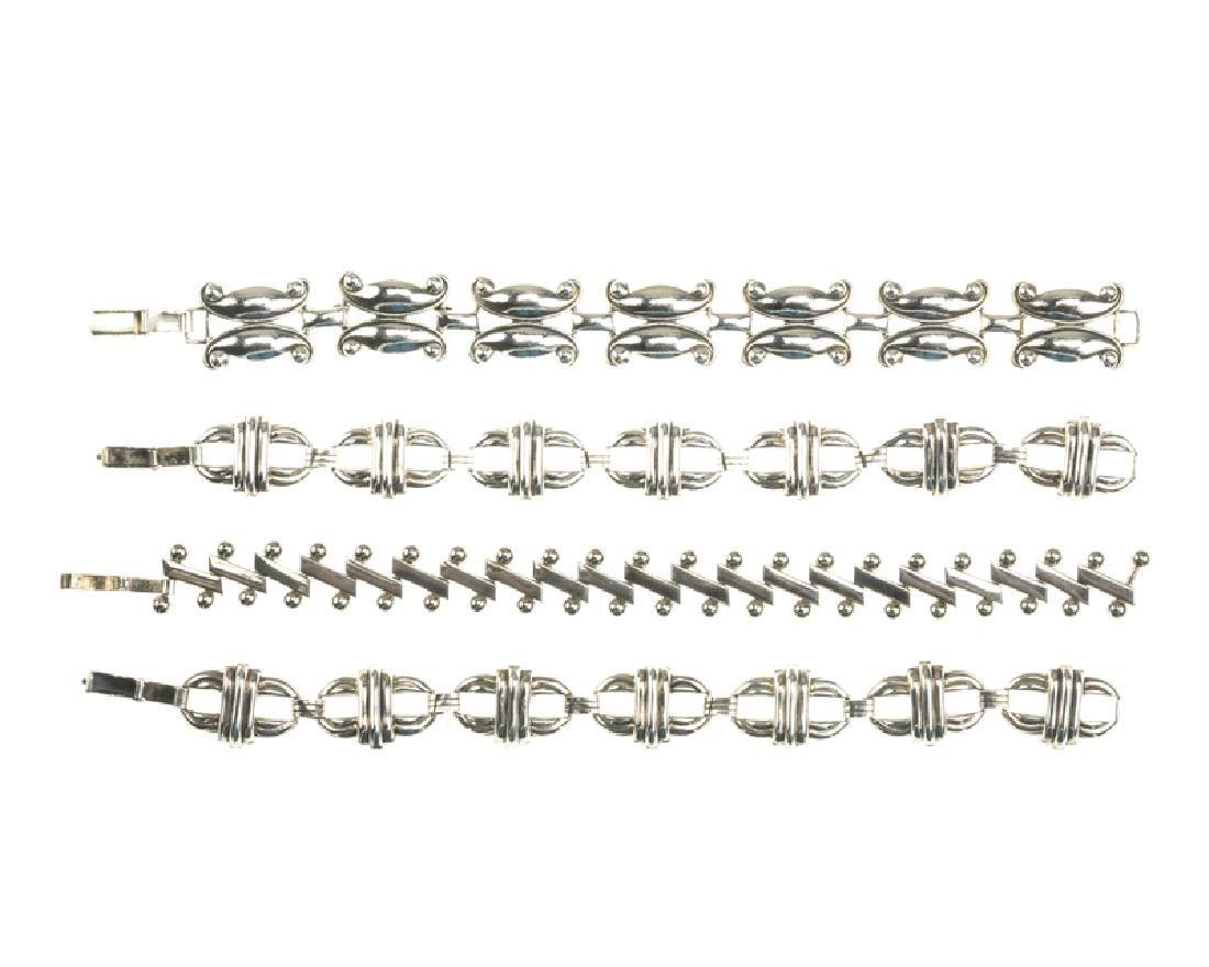 Four Modernist sterling silver bracelets
