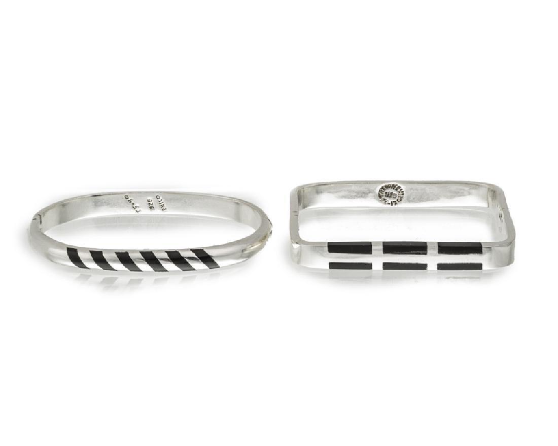 Two Taxco sterling silver and enamel bracelets