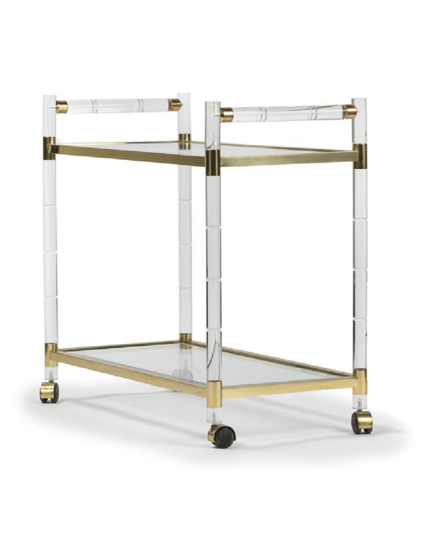 A Lucite and brass bar cart, Charles Hollis Jones