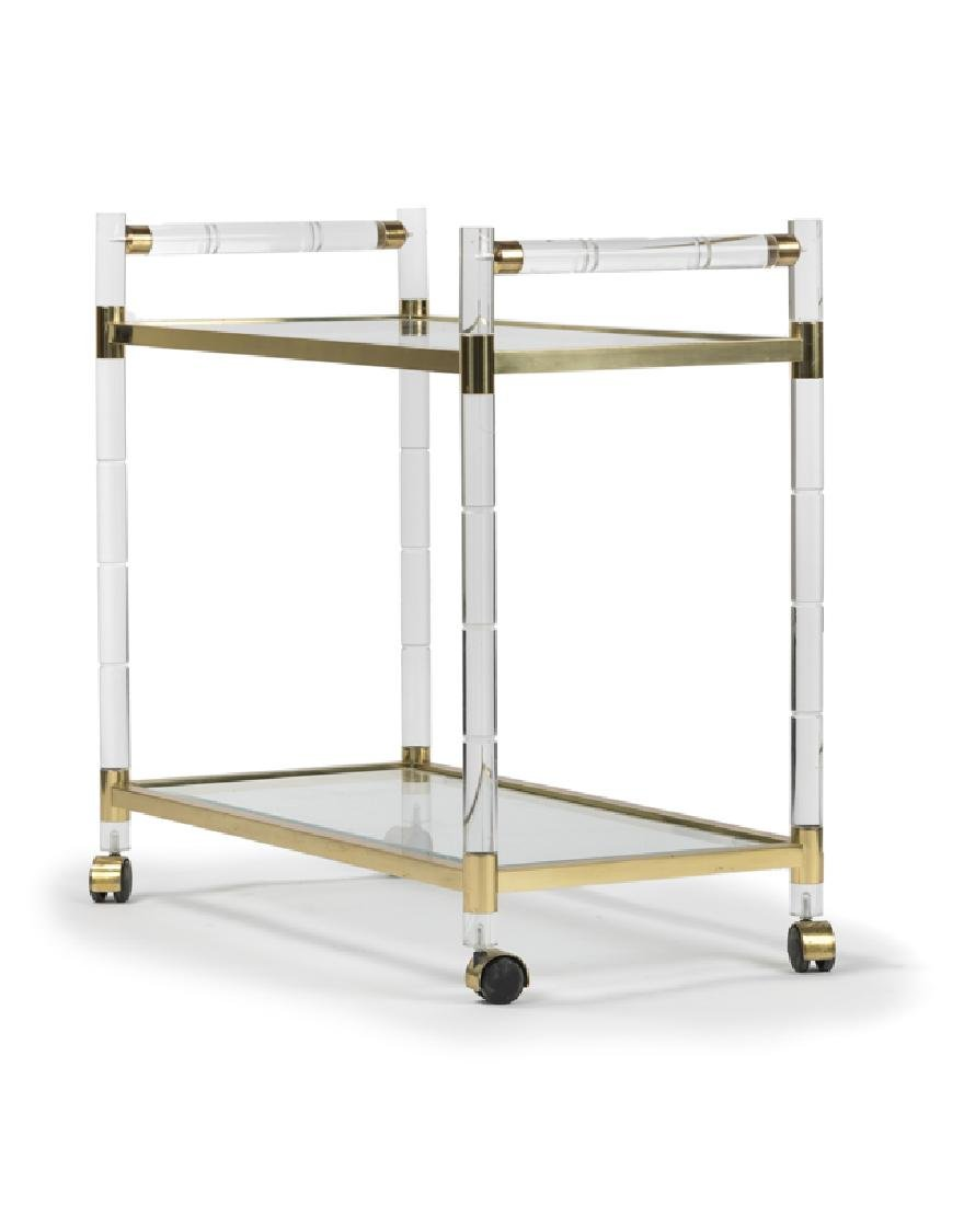 A Lucite and brass bar cart, Charles Hollis Jones