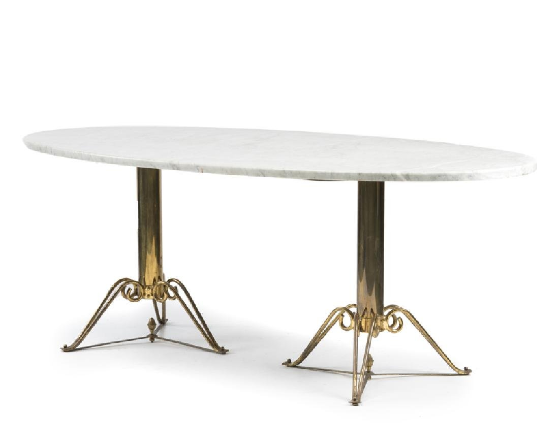 A brass and marble dining table