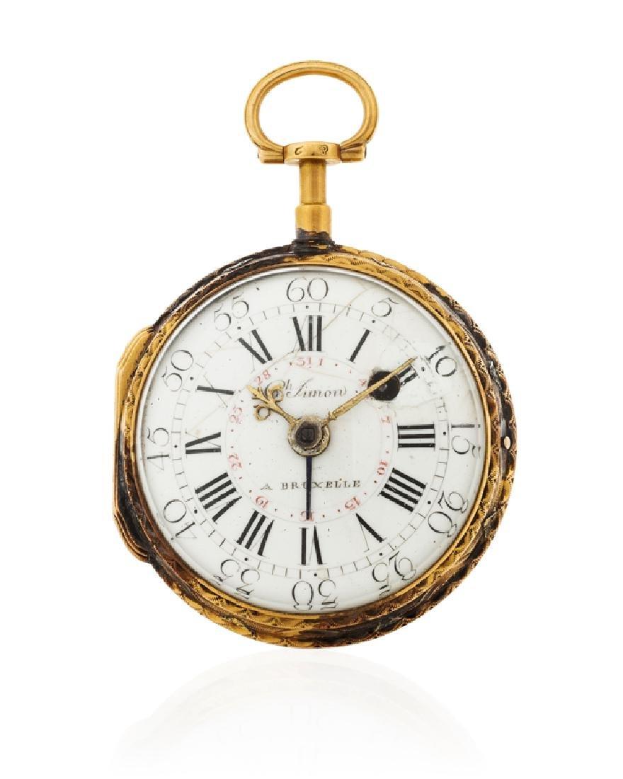 A gold verge calendar pocket watch, Ch. Simon
