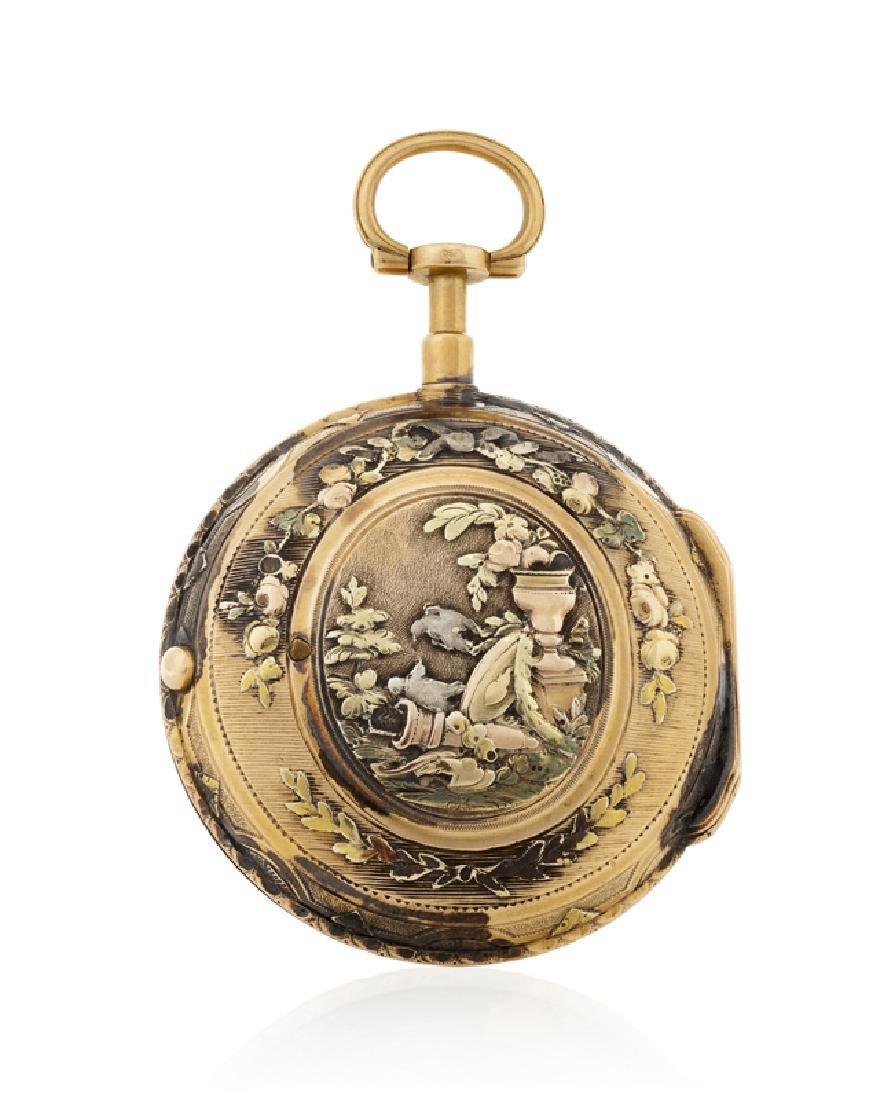 A gold verge calendar pocket watch, Ch. Simon - 2