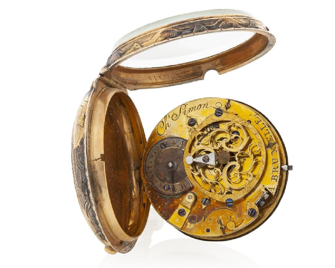 A gold verge calendar pocket watch, Ch. Simon - 3