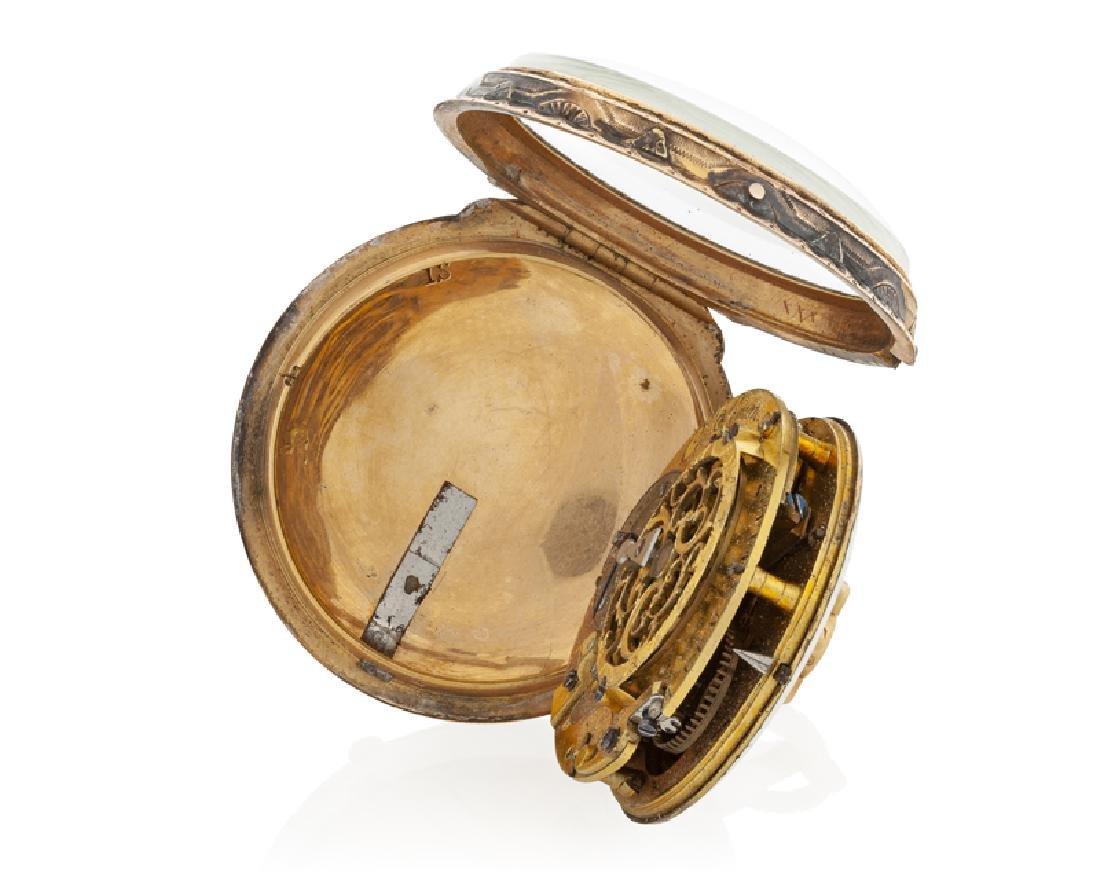 A gold verge calendar pocket watch, Ch. Simon - 4