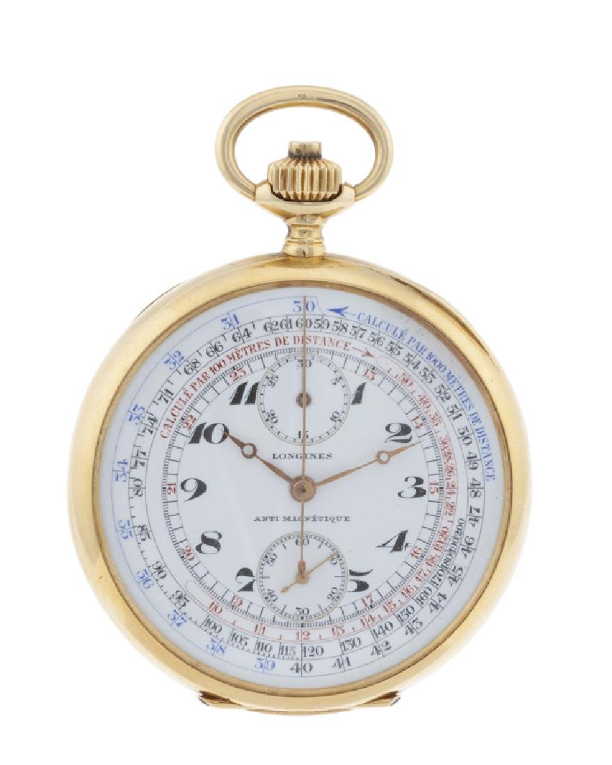 An 18K gold Longines Chronograph pocket watch