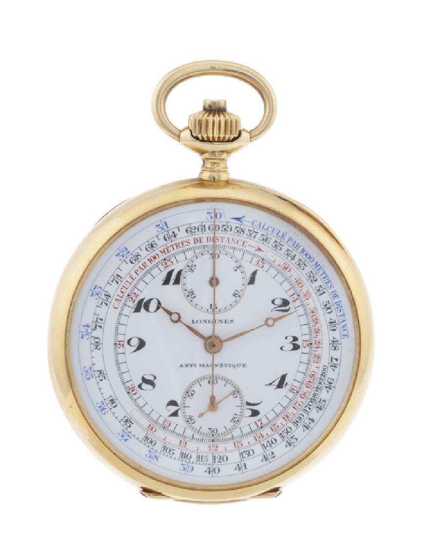 An 18K gold Longines Chronograph pocket watch