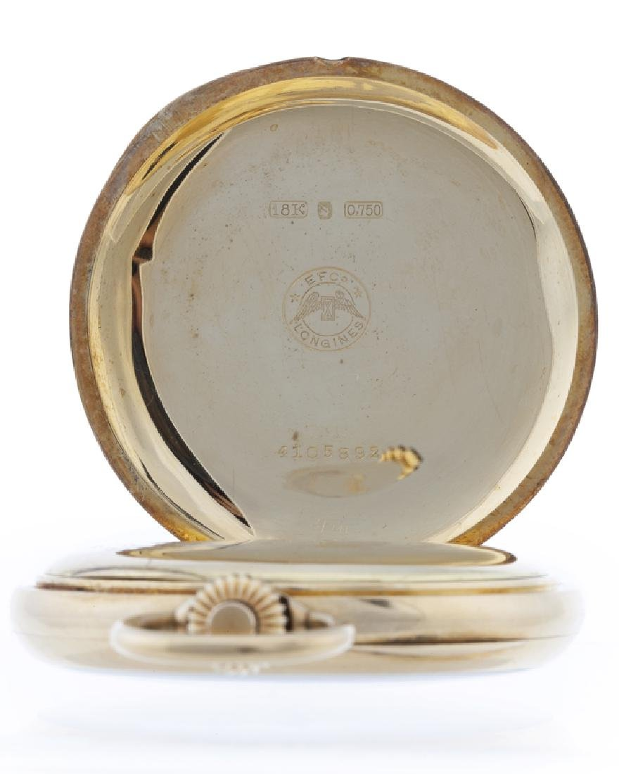 An 18K gold Longines Chronograph pocket watch - 3
