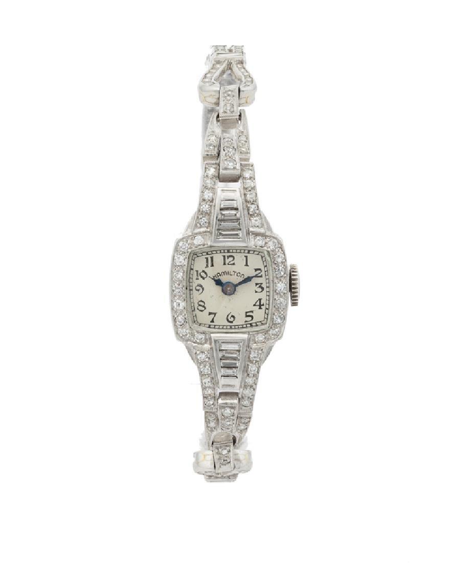 An Art Deco diamond manual wristwatch, Hamilton
