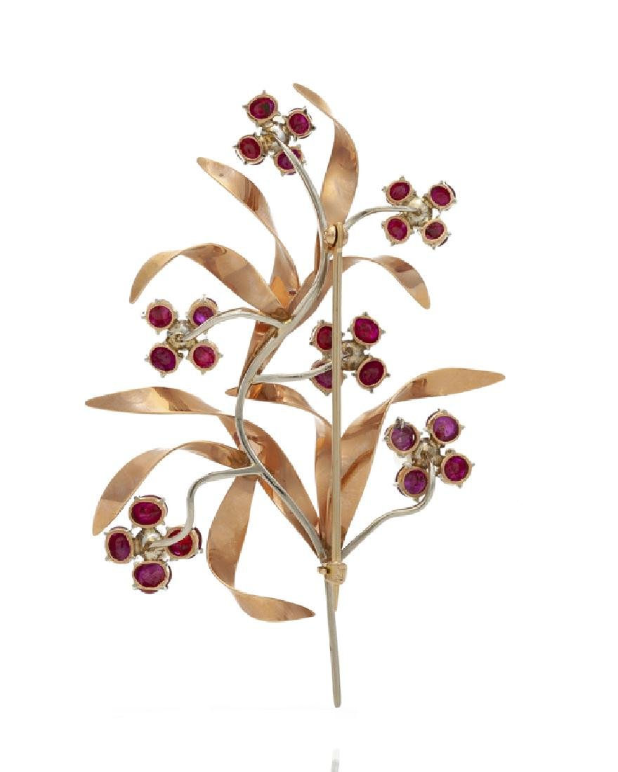 A Retro bi-colored gold ruby and seed pearl flower - 2
