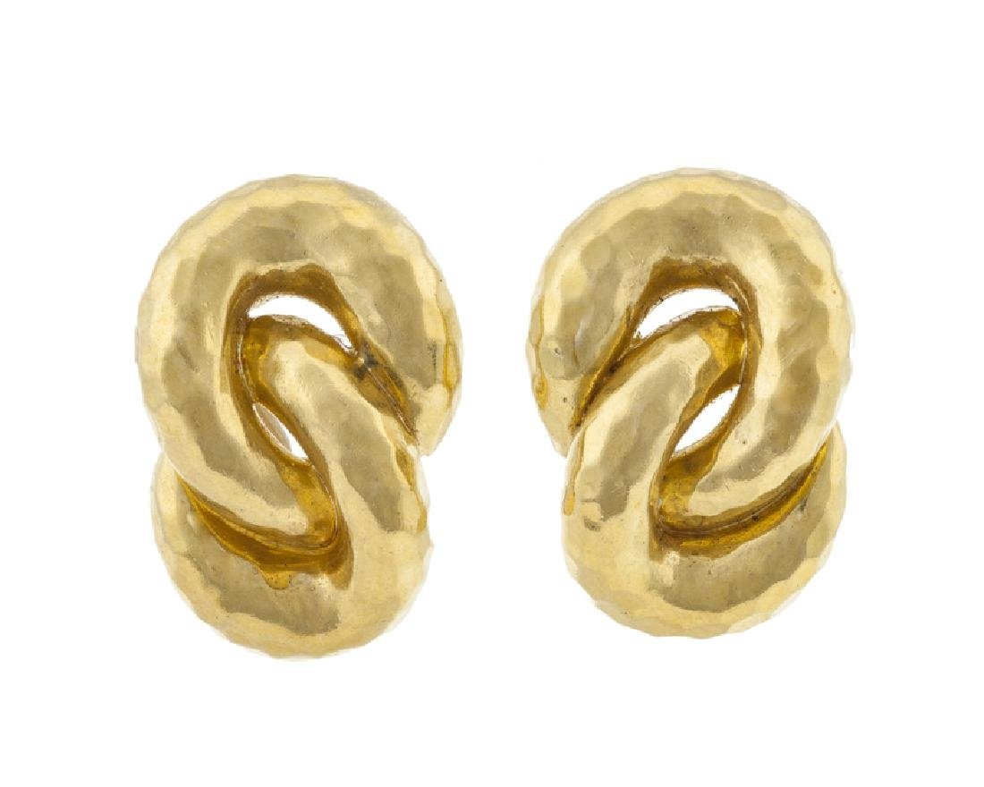 A pair of gold knot ear clips, Henri Dunay