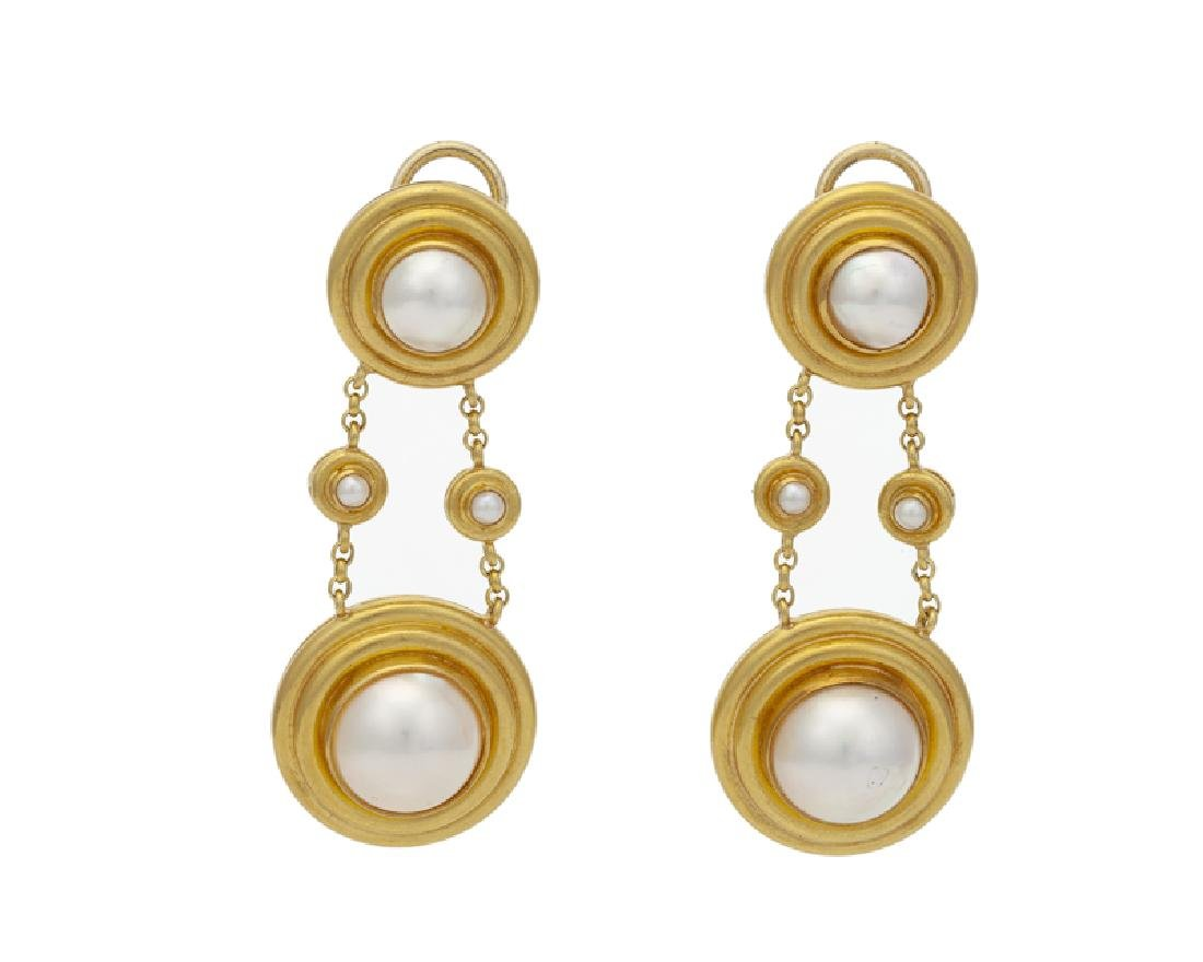 A pair of mabe pearl and gold earrings, Elizabeth Locke