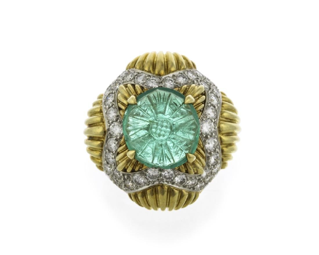A carved emerald and diamond ring, Van Cleef & Arpels