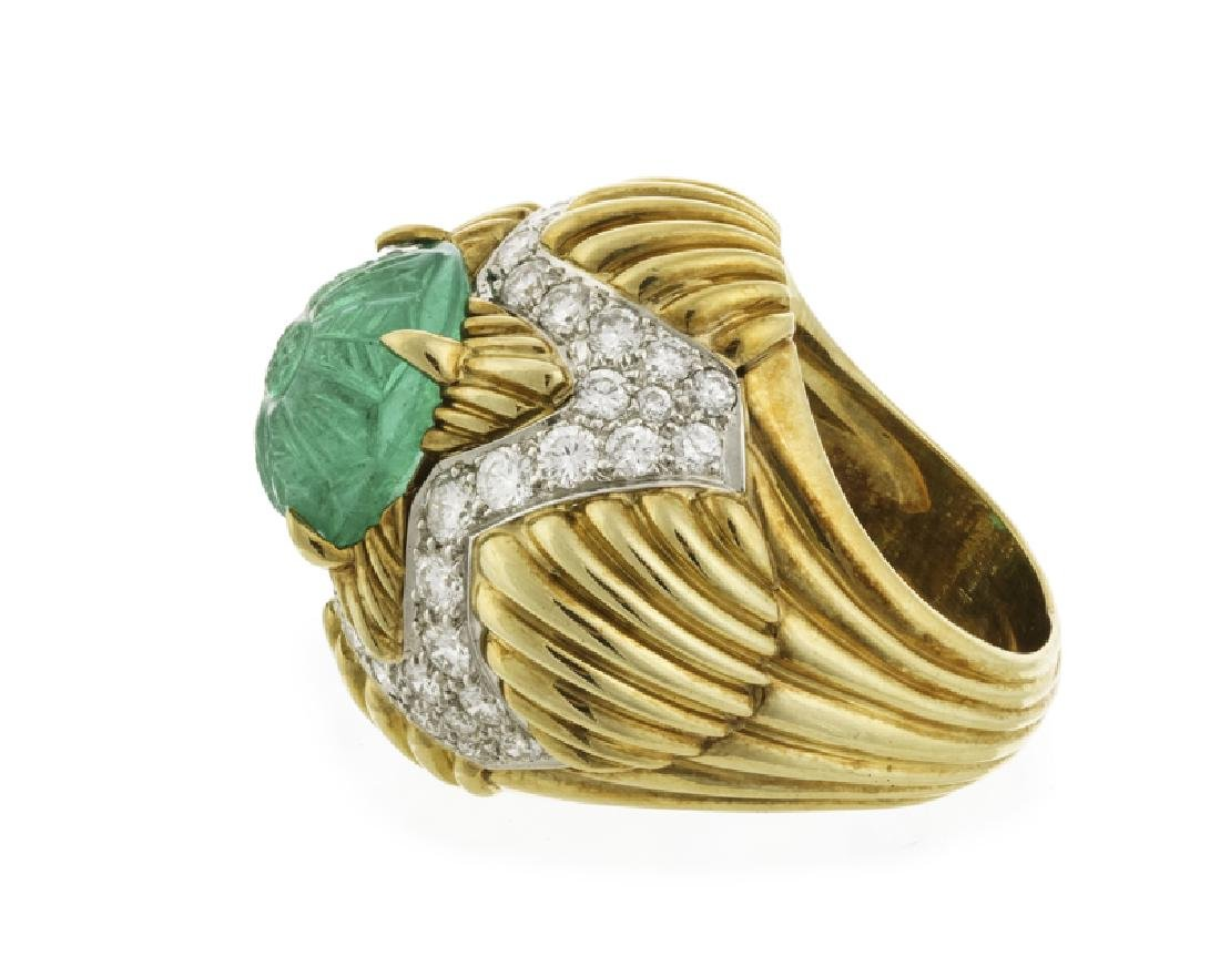 A carved emerald and diamond ring, Van Cleef & Arpels - 2