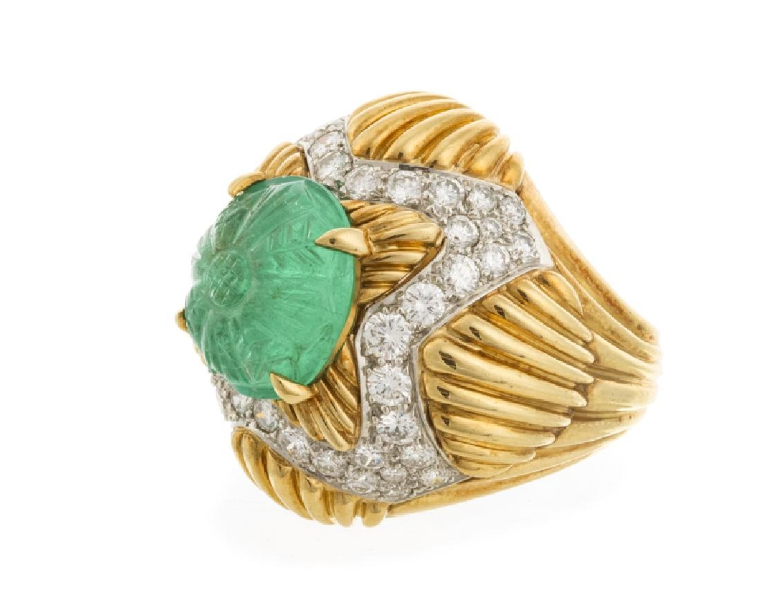 A carved emerald and diamond ring, Van Cleef & Arpels - 3