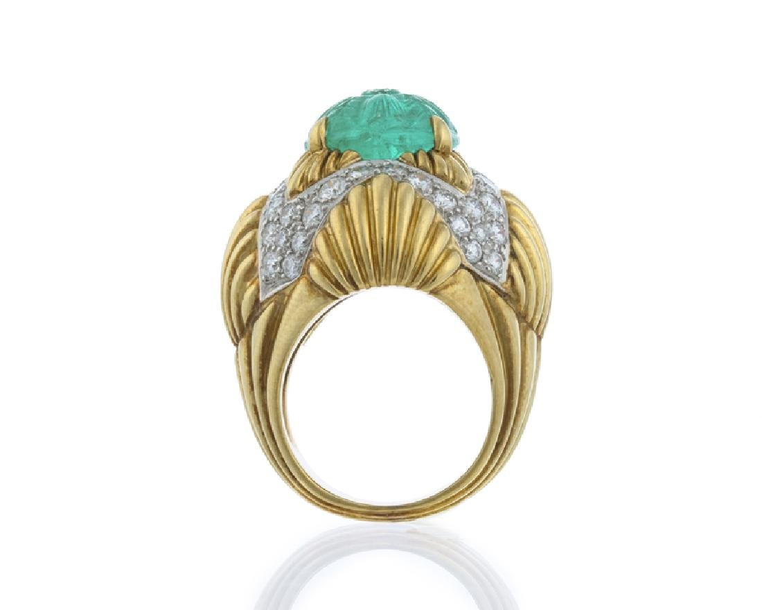 A carved emerald and diamond ring, Van Cleef & Arpels - 4