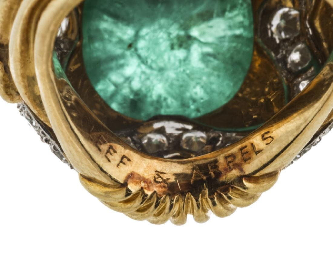 A carved emerald and diamond ring, Van Cleef & Arpels - 5