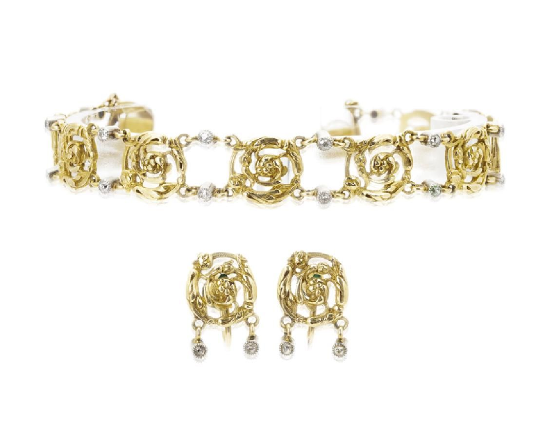 A set of Antique French diamond and gold jewelry