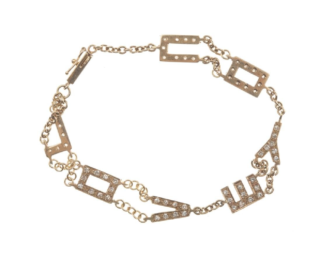 A diamond ''LOVE YOU'' link bracelet - 2