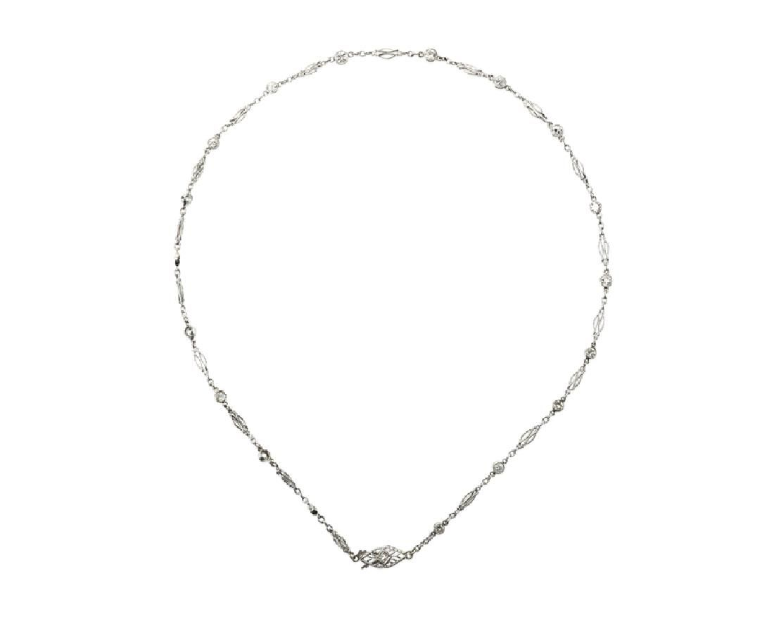 A late Art Deco collet-set diamond necklace
