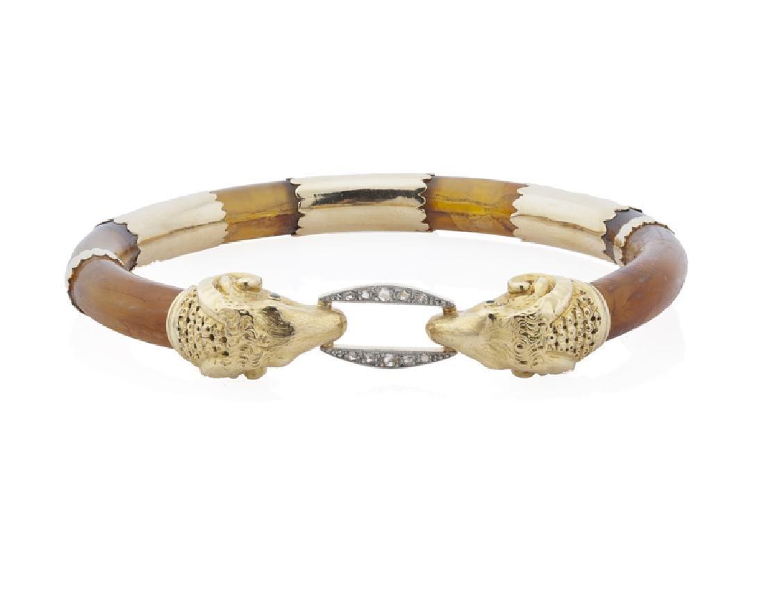 An amber and diamond ram's head bangle - 2