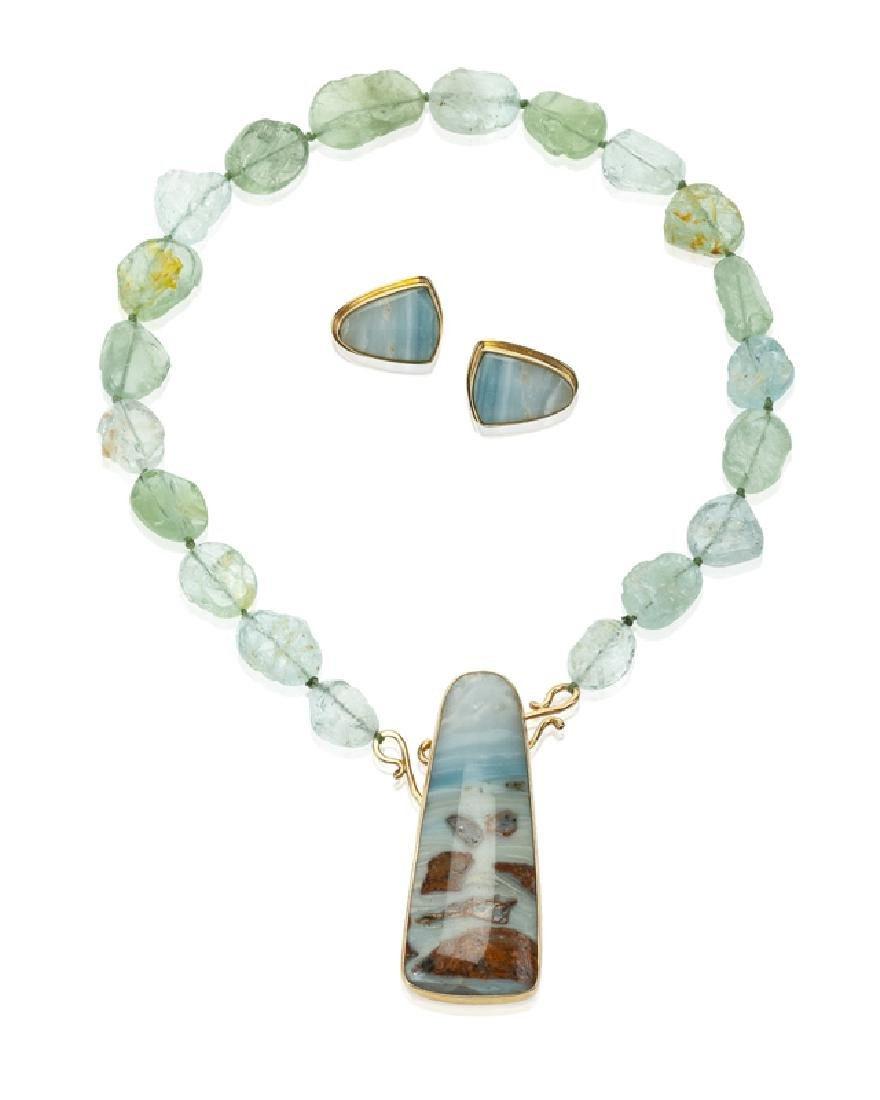 A set of blue stone jewelry