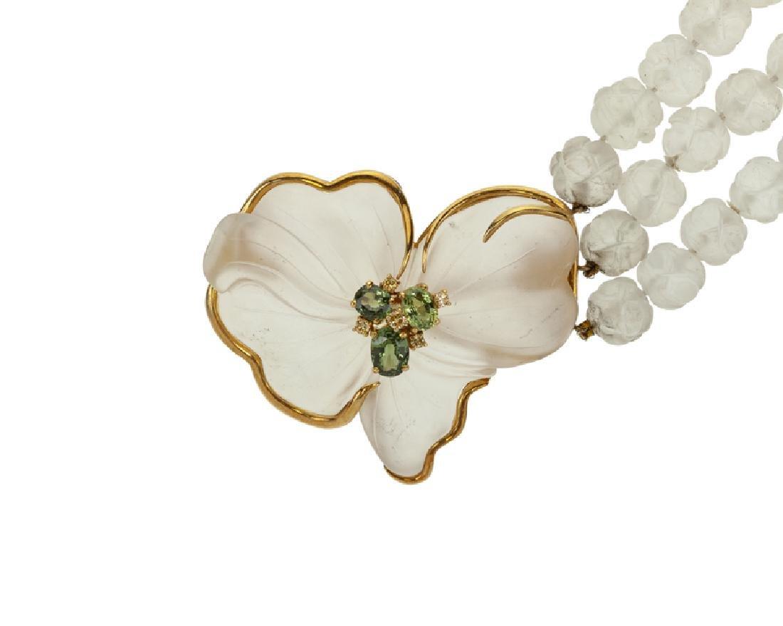 A carved rock crystal and gem-set brooch/necklace - 2