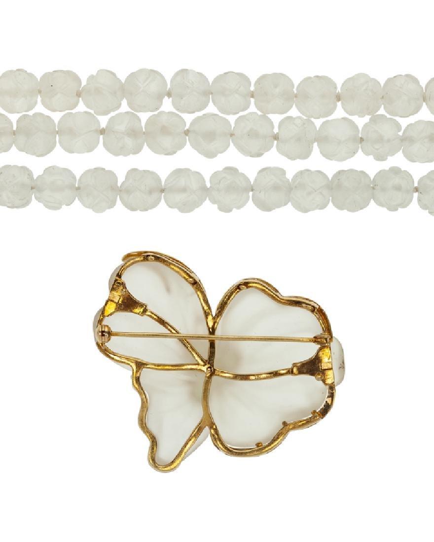 A carved rock crystal and gem-set brooch/necklace - 3