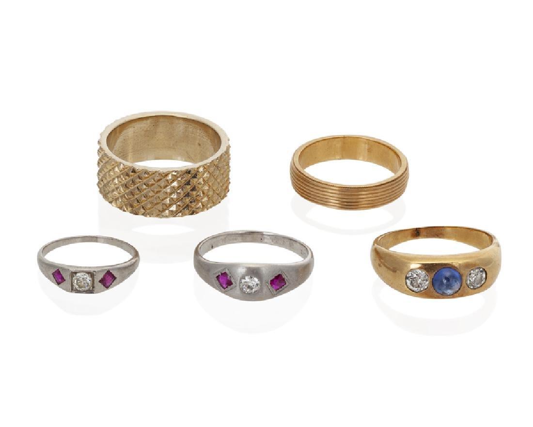 Five rings in various styles