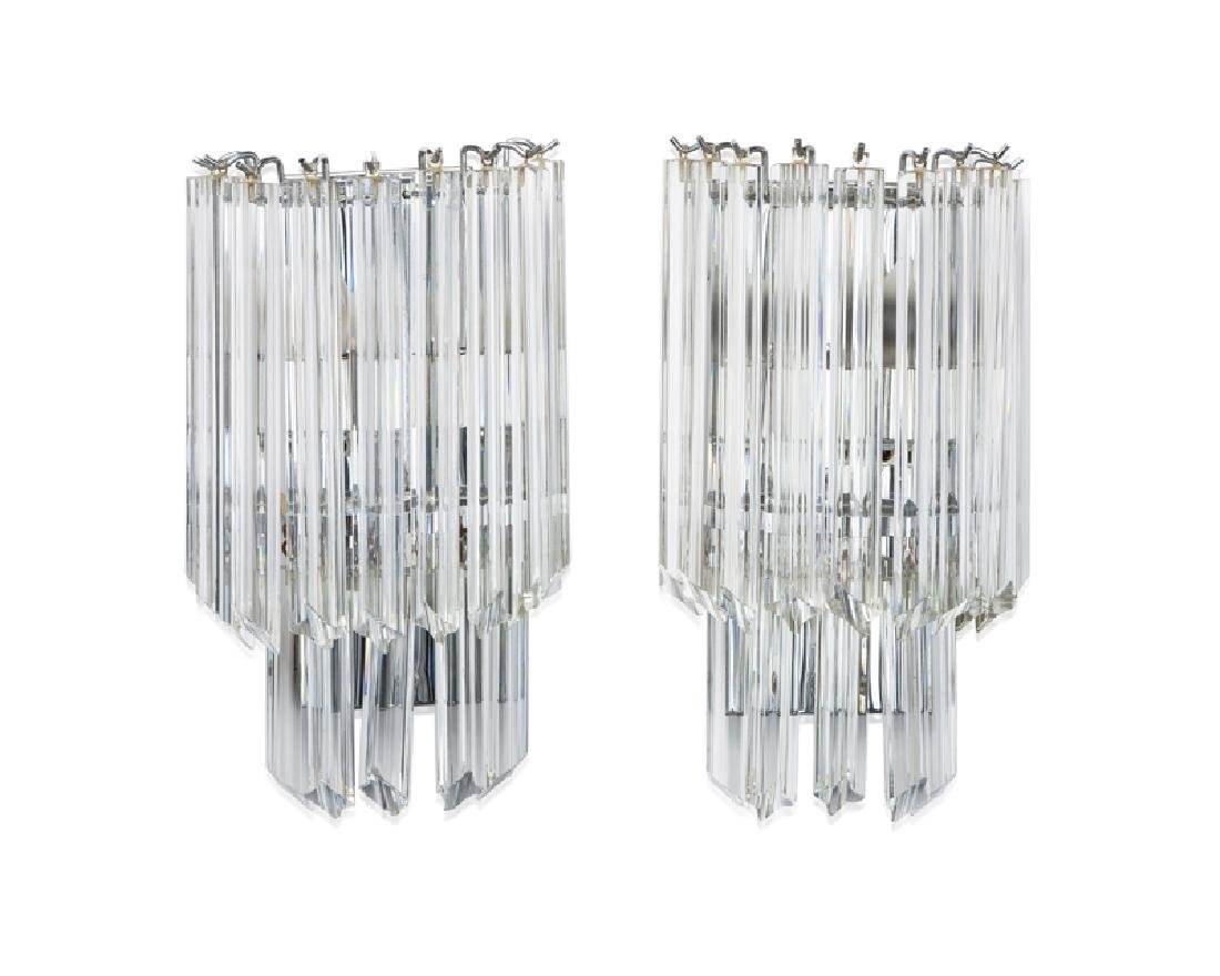 A pair of waterfall crystal wall sconces