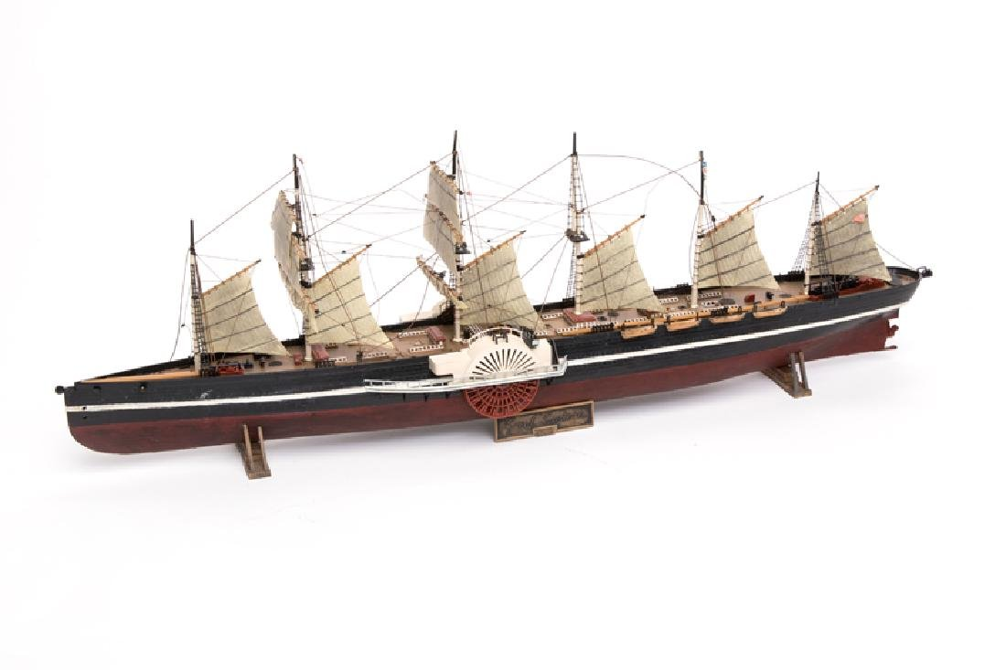 A scale model of a riverboat, the SS Great Eastern