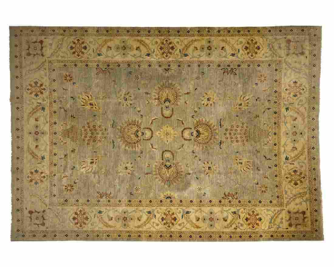 A Persian-style room-size area rug