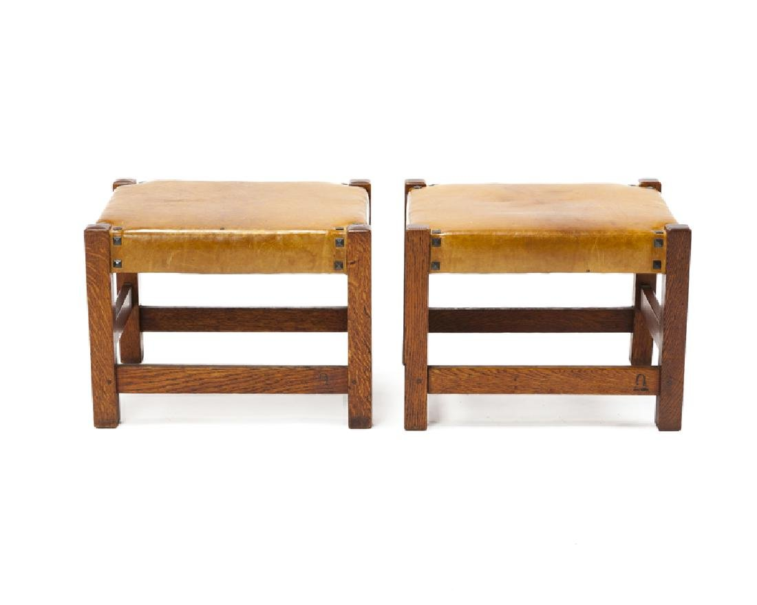 A pair of footstools, Gustav Stickley