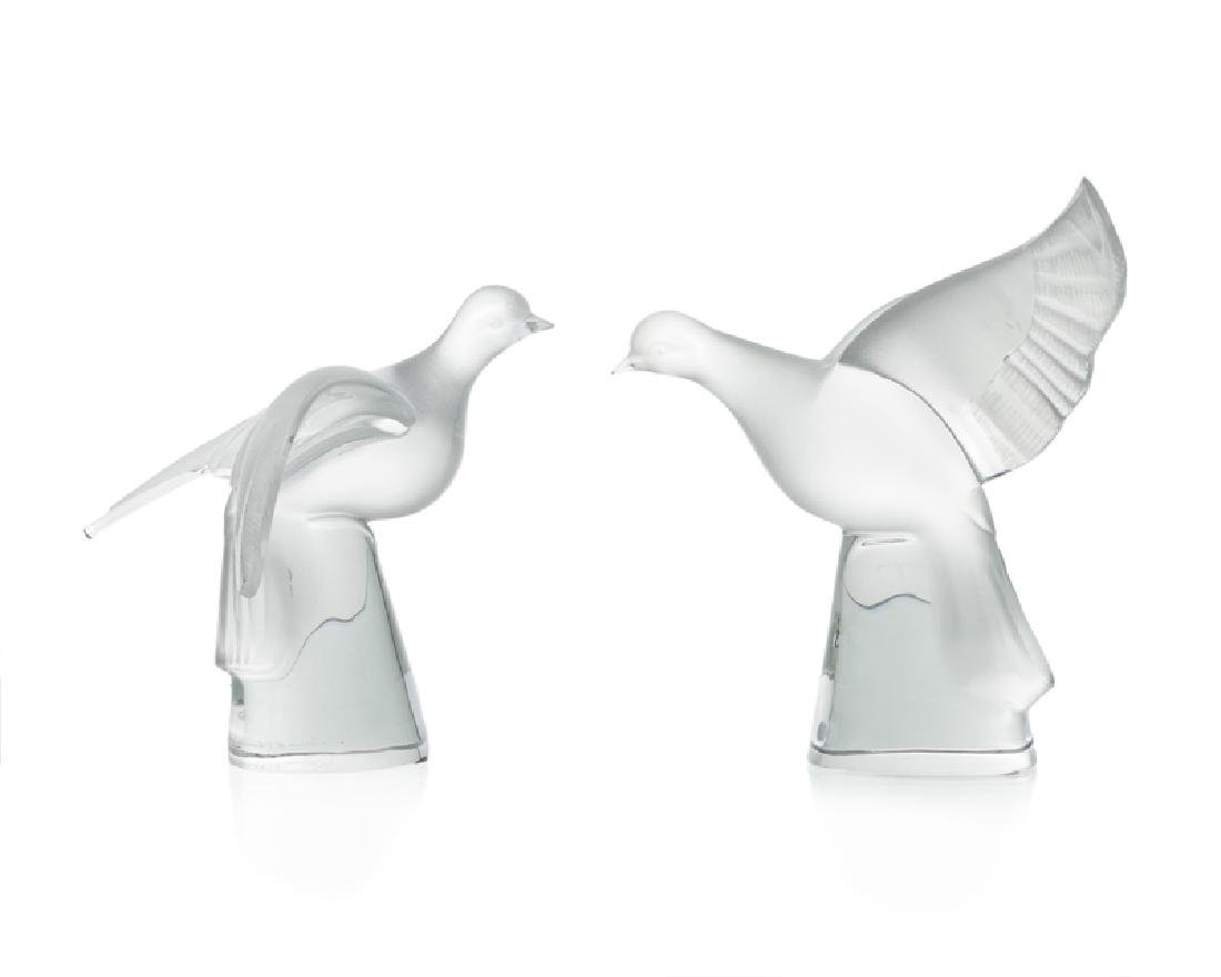 Two Lalique frosted art glass doves