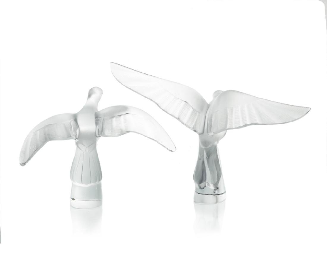 Two Lalique frosted art glass doves - 2