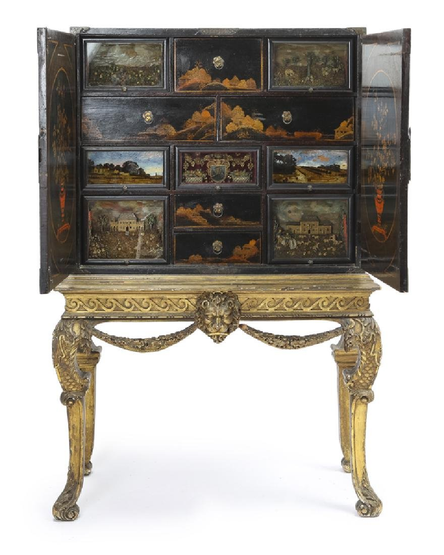 A Continental chinoiserie curio chest on stand