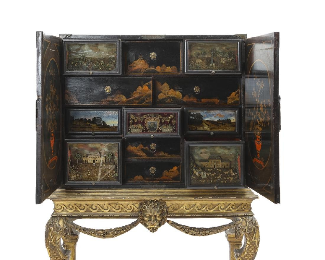 A Continental chinoiserie curio chest on stand - 3
