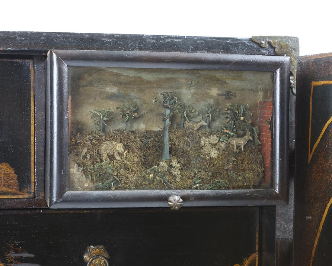 A Continental chinoiserie curio chest on stand - 4