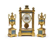A French bronze champleve crystal regulator clock and