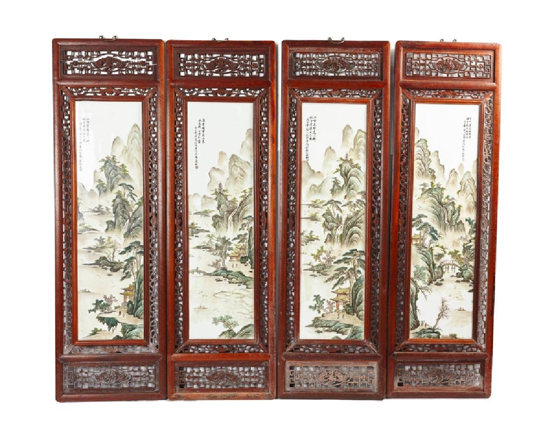 Four Chinese framed porcelain plaques of the four
