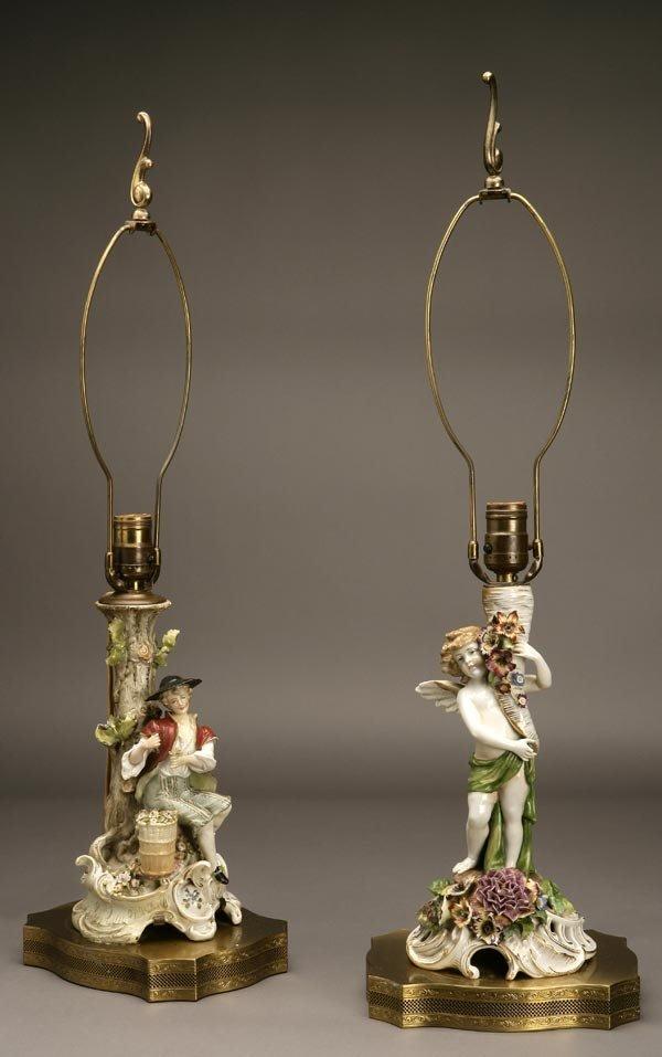 1012: TWO MEISSEN STYLE PORCELAIN FIGURAL LAMPS