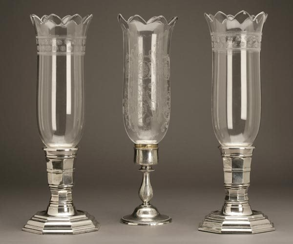 1013: PAIR GALLIA CHRISTOFLE SILVERED CANDLESTICK LAMPS